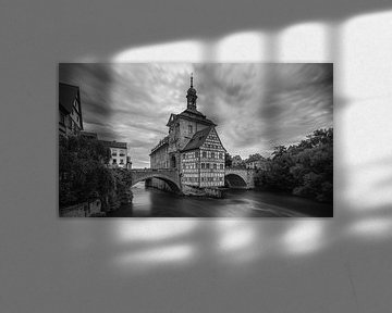 Das alte Rathaus von Bamberg in Schwarz-Weiß