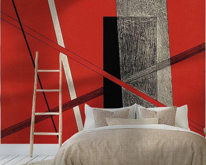 Sfeerimpressie behang: Bauhaus, Zonder titel, uit de portfolio Konstruktionen, Kestnermappe 6 - László Moholy-Nagy, 1923 van Atelier Liesjes