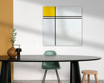 Komposition mit Doppellinie und Gelb, Piet Mondriaan