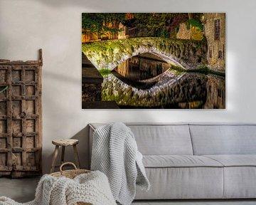 De Meebrug in Brugge van Johan Vanbockryck