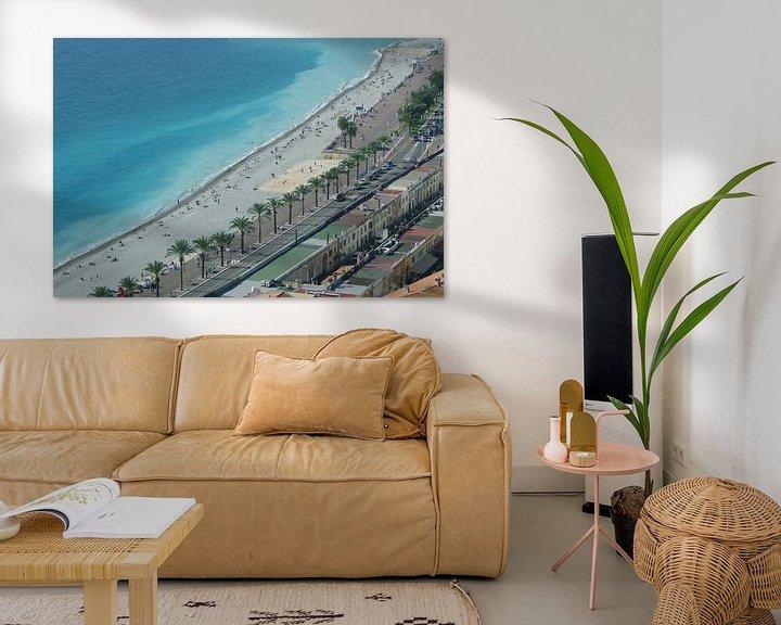 Sfeerimpressie: Strand van Nice in vogelvlucht van Romuald van Velde