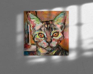 Schilderij van een portret van een kat