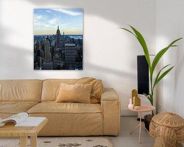 New York skyline bij zonsondergang van mitevisuals