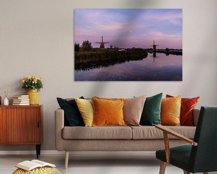 Impression: Les moulins de Kinderdijk dans la lumière du soir sur Brian Morgan