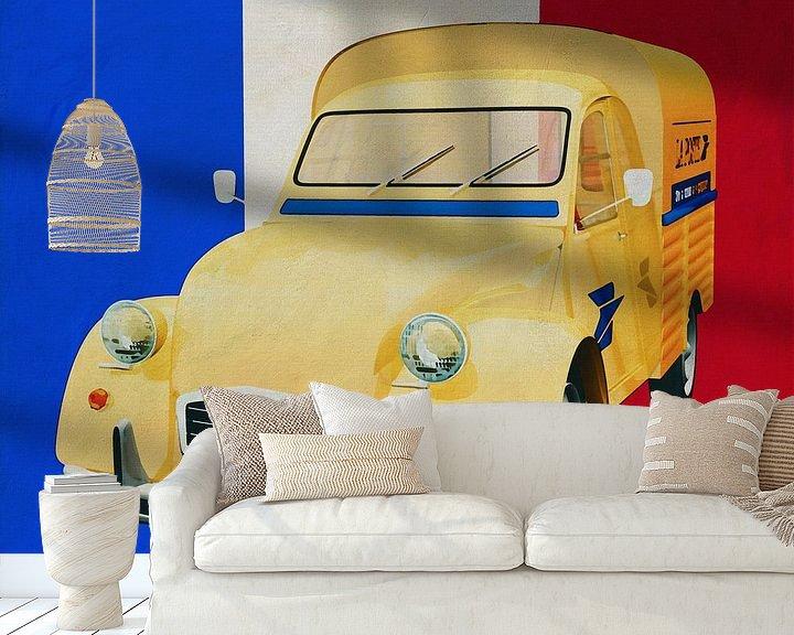 Sfeerimpressie behang: Citroen 2CV voor de Franse vlag van Jan Keteleer
