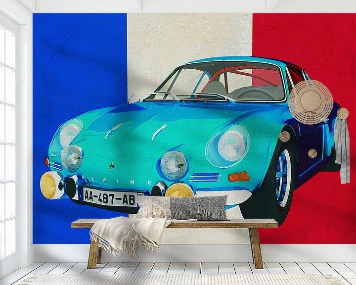 Sfeerimpressie behang: Alpine Renault 1600-S 1973 met Franse vlag van Jan Keteleer