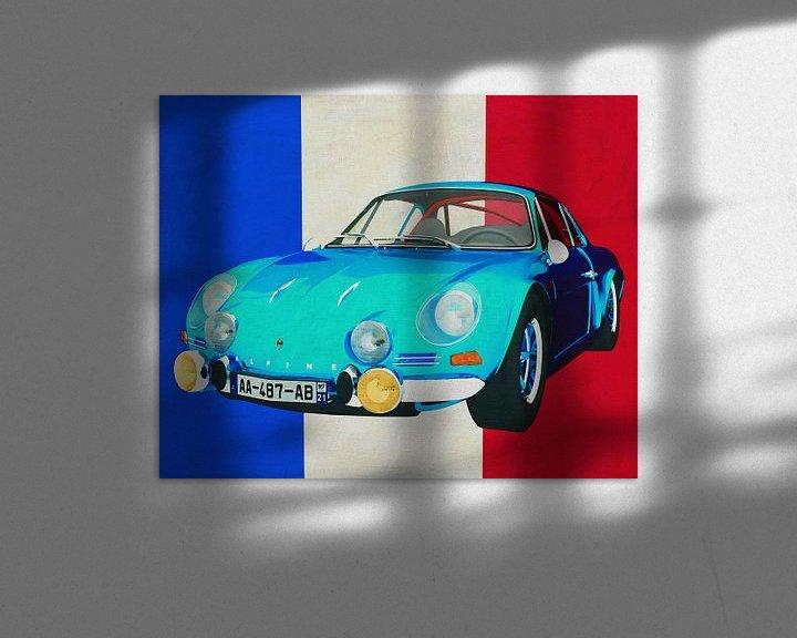 Sfeerimpressie: Alpine Renault 1600-S 1973 met Franse vlag van Jan Keteleer