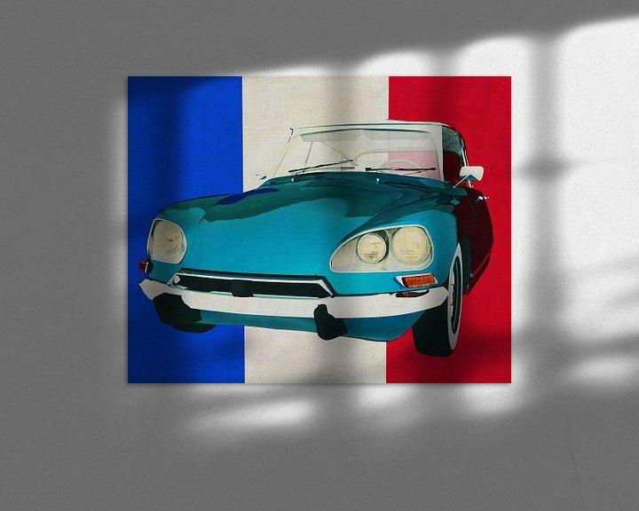 Sfeerimpressie: Citroen DS met Franse vlag van Jan Keteleer