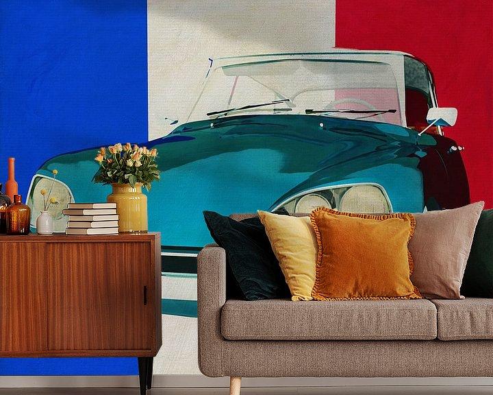 Sfeerimpressie behang: Citroen DS met Franse vlag van Jan Keteleer