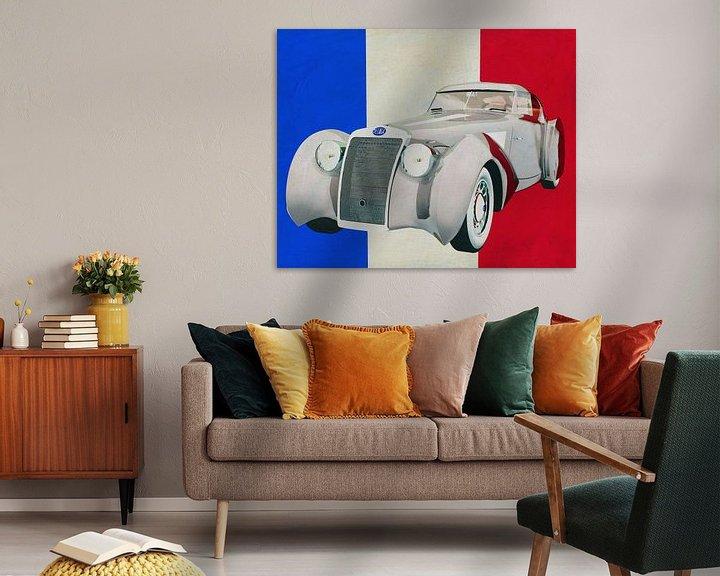 Sfeerimpressie: Delage D8-120 Aerosport 1938 met Franse vlag van Jan Keteleer