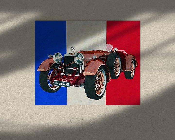 Sfeerimpressie: Hispano Suiza H6 Tulpenhout 1924 met Franse vlag van Jan Keteleer