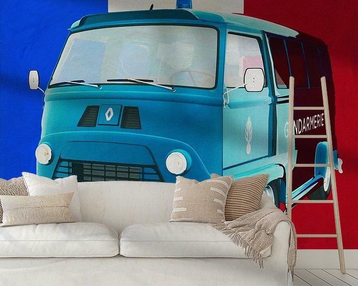 Sfeerimpressie behang: Renault Estafette 800 gendarmerie 1965 met Franse vlag van Jan Keteleer