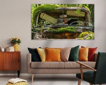 Moosbedecktes, verlassenes Auto im Wald von Axel Weidner
