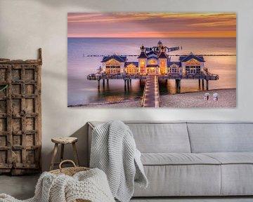 Zonsopkomst bij de pier van Sellin, Rügen, Duitsland van Adelheid Smitt