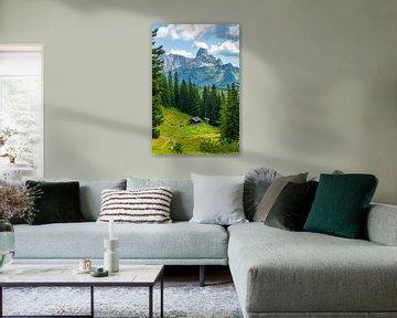 """Paysage de montagne """"Cabane en bois dans les montagnes"""". sur Coen Weesjes"""