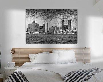 SAN DIEGO Skyline | Monochrom von Melanie Viola