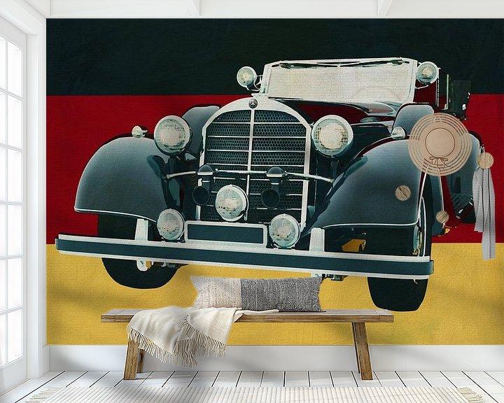 Sfeerimpressie behang: Mercedes 770K Limousine uit 1938 voor de Duitse vlag van Jan Keteleer