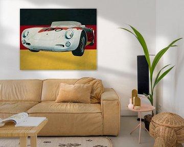 Porsche 550-A Spyder von 1956 vor der deutschen Flagge von Jan Keteleer