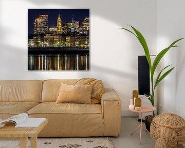 BOSTON Abendliche Skyline von North End & Financial District von Melanie Viola