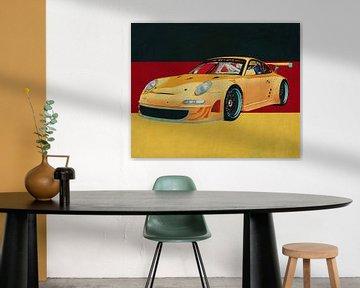 Porsche GT3 RS Cup 2008 vor der deutschen Flagge von Jan Keteleer