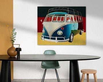 Volkswagen Combi Deluxe von 1963 vor der deutschen Flagge von Jan Keteleer