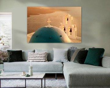Kerk bij zonsondergang, Santorini, Cycladen, Griekenland van Markus Lange