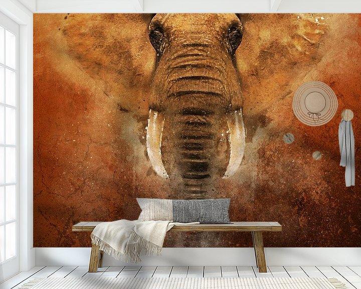 Sfeerimpressie behang: Geschilderde olifant van Arjen Roos