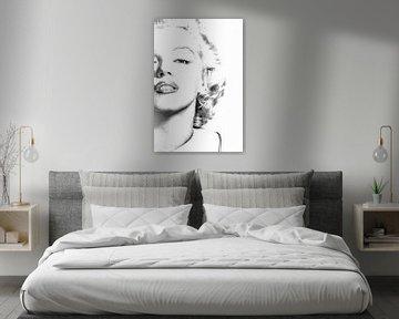 Marilyn Monroe Hochglanzporträt Schwarz-Weiß von Art By Dominic