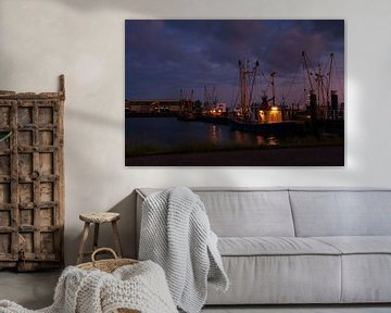 Visssersboot in haven Lauwersmeer
