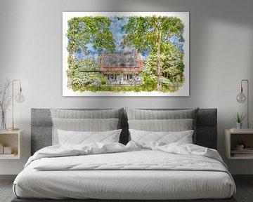 Haus mit Fensterläden in Burgh-Haamstede (Aquarell) von Art by Jeronimo