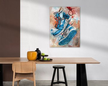 Nike Air Jordan 1 Chicago Off White Malerei (blau) von Jos Hoppenbrouwers