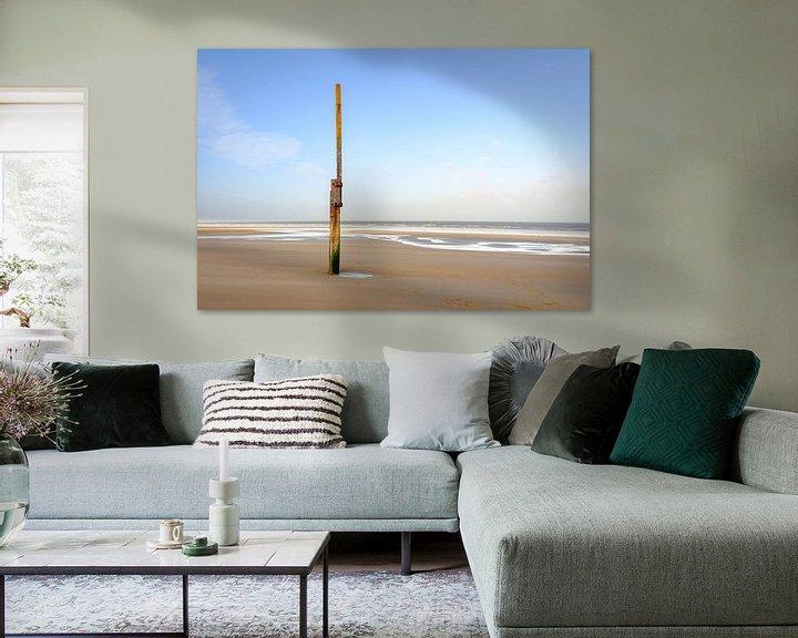 Impression: Poste de mesure sur la plage sur Johan Vanbockryck