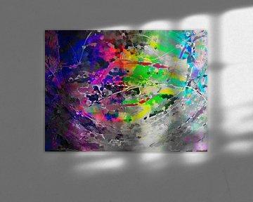 Modernes, abstraktes digitales Kunstwerk in Grau und Regenbogenfarben von Art By Dominic