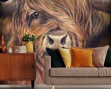 Schotse hooglander met olieverf op canvas... van Els Fonteine