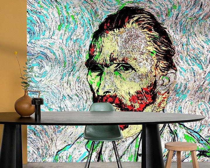 Beispiel fototapete: Selbstbildnis 1889 Vincent van Gogh (Musée d'Orsay) Abstrakte, farbenfrohe, digitale Kunst von Art By Dominic