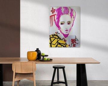 Geisha with Cherry Blossom van Helia Tayebi Art