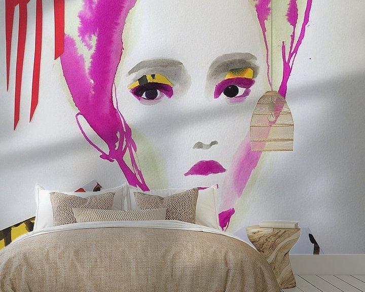 Beispiel fototapete: Geisha mit Kirschblüte von Helia Tayebi Art