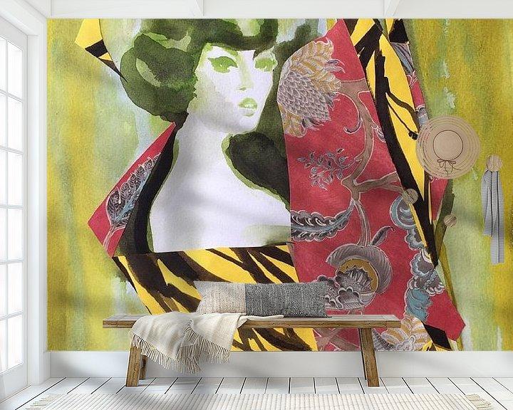Beispiel fototapete: Geisha im Roten Kimono von Helia Tayebi Art