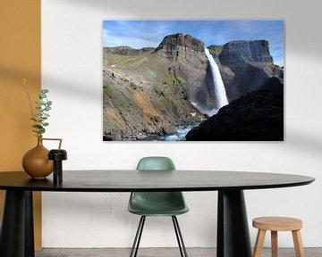 Háifoss Wasserfall aus der Bodenperspektive von Karsten Volkmer
