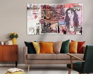 Amy Winehouse 50 pounds bill van Rene Ladenius Digital Art