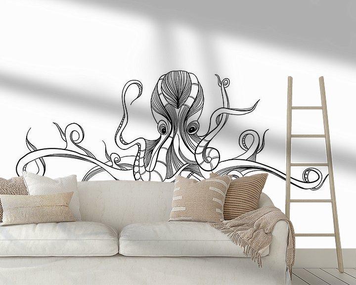 Beispiel fototapete: Poster Tintenfisch - schwarz-weiß von Studio Tosca
