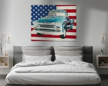 Chevrolet Apache 1959 met vlag van de V.S.