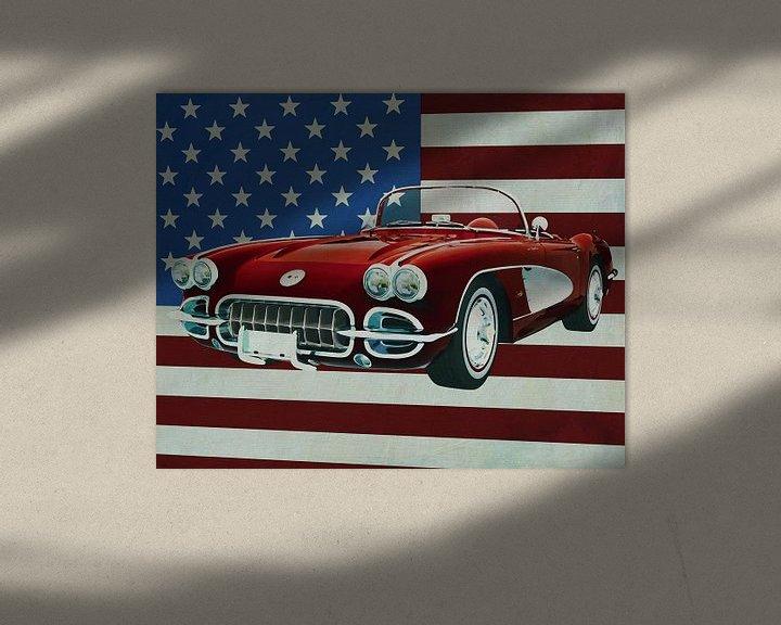 Sfeerimpressie: Chevrolet Corvette C1 uit 1960 voor de Amerikaanse vlag van Jan Keteleer