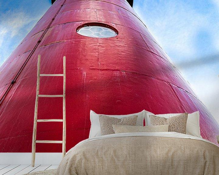 Sfeerimpressie behang: Rode vuurtoren van Ken Huysmans