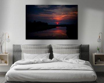 de zon komt op, als rode bal boven de horizon van Studio de Waay