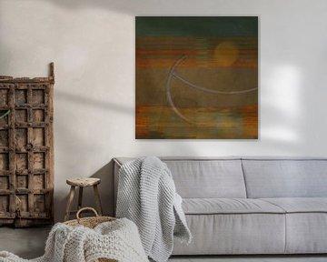 De zon in abstract landschap van Joost Hogervorst