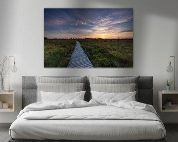 Zonsondergang vlonder pad Hogevenen Ardennen België! van Peter Haastrecht, van