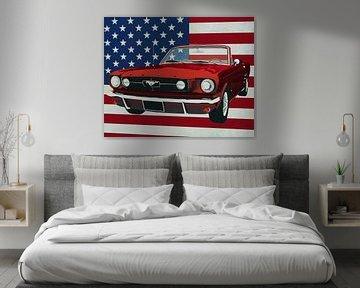 Ford Mustang Convertible 1964 met vlag van de V.S.