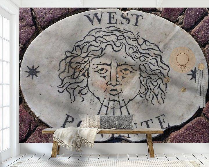Sfeerimpressie behang: West, Potente, 1 van vier windstreken van het St Pietersplein (1/4) van Atelier Liesjes