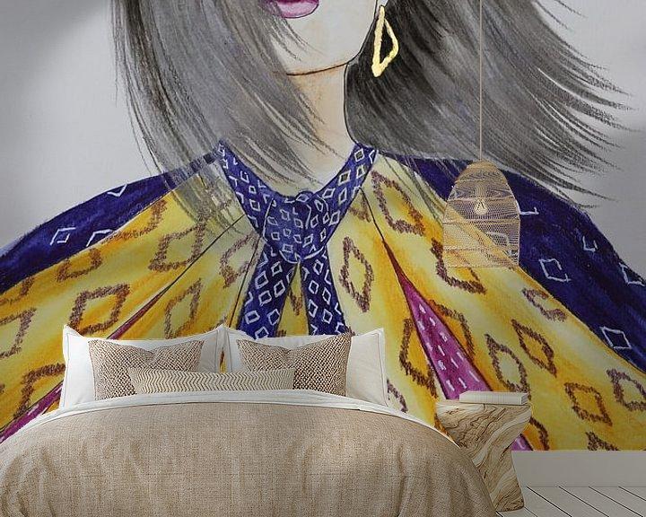 Beispiel fototapete: Modeillustration mit Muster und Goldakzent von Iris Kelly Kuntkes